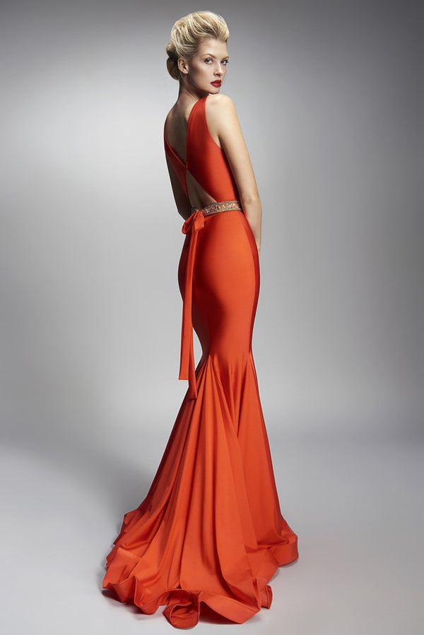 Nicole Bakti Plunge Cut Out Back Long Dress