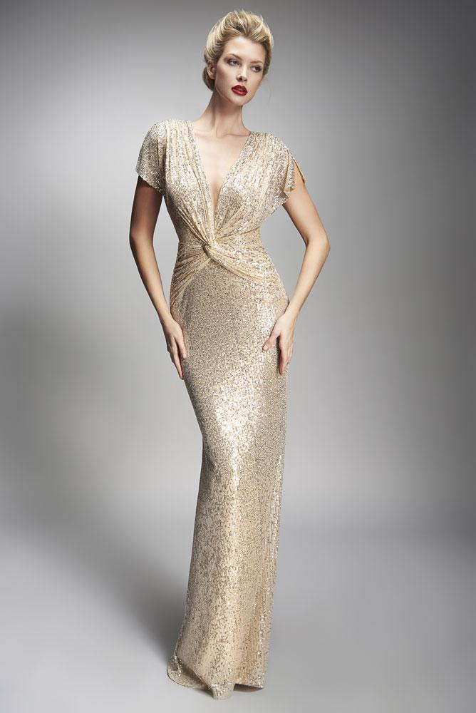 Nicole Bakti V-Neck Front Knot Sequin Embellished Long Dress