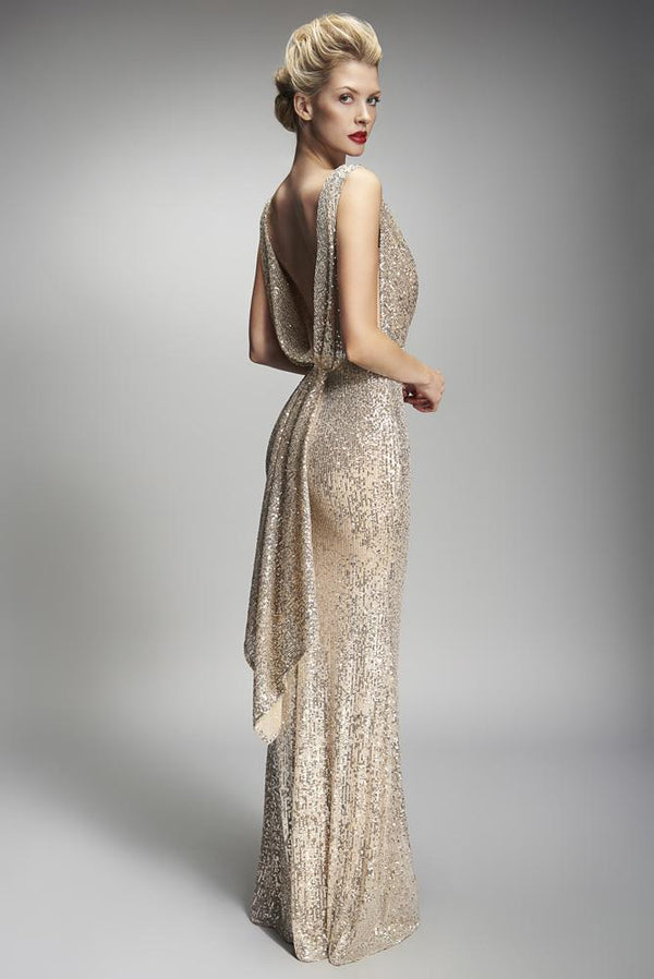 Nicole Bakti Deep V Back Draped Sequin Embellished Dress