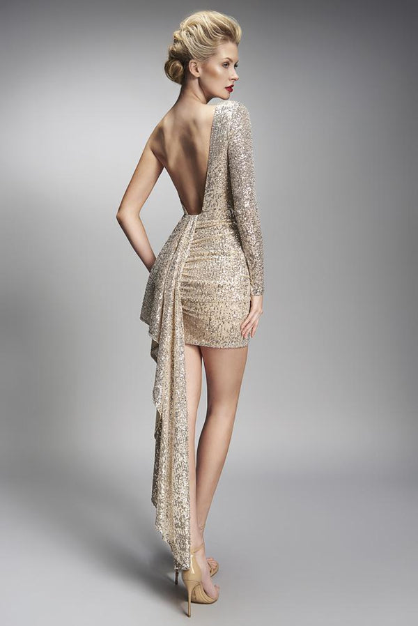 Nicole Bakti One Shouder Sequin Embellished Short Dress