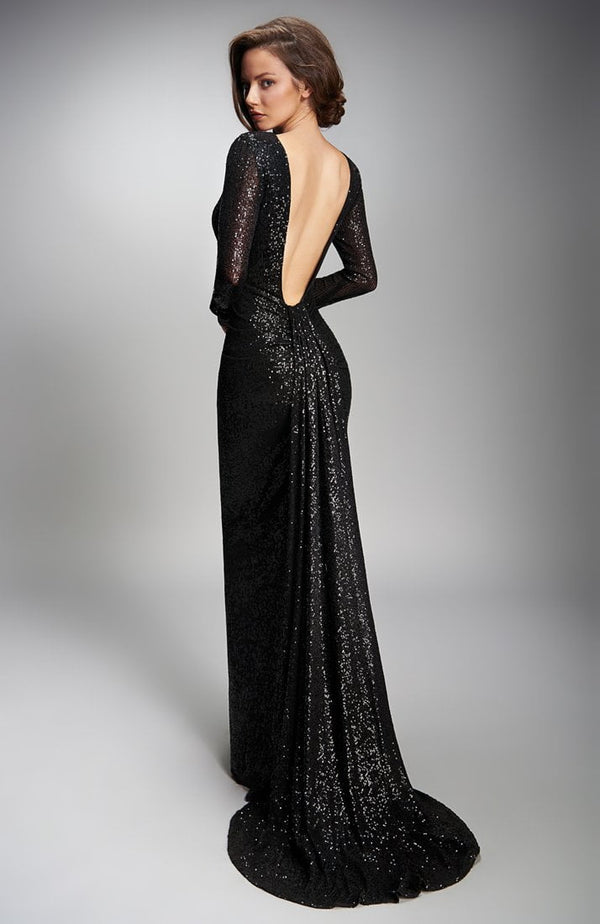Nicole Bakti Long Sleeve Open Back Train Long Dress