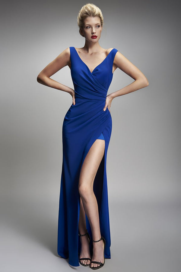 Nicole Bakti V Neck Draped High Slit Dress