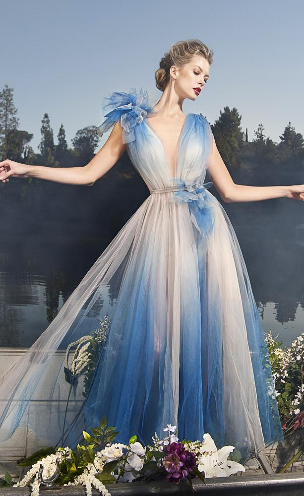 Nicole Bakti Plunging Ombre Evening Gown