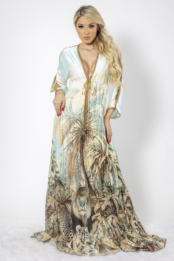 Baccio Silk Crystal Printed Maxi Dress