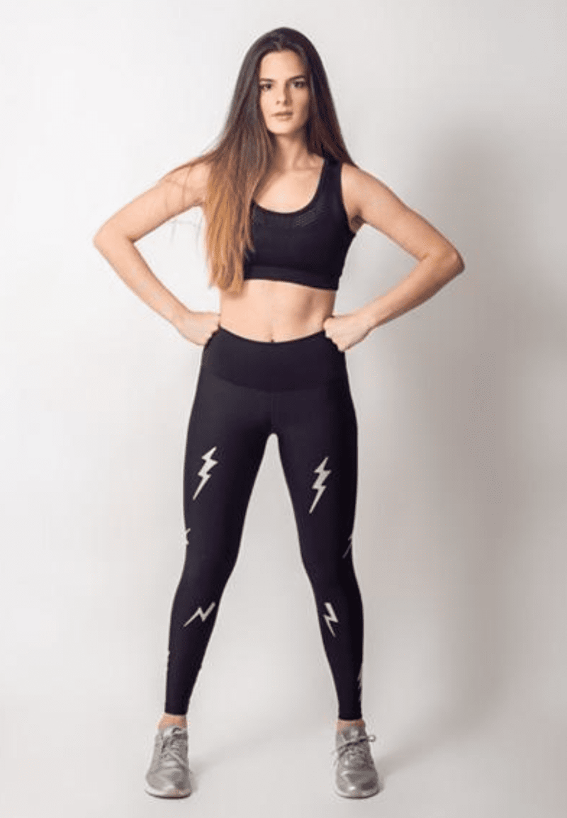 Active Fit Silver Lightning Bolts Legging