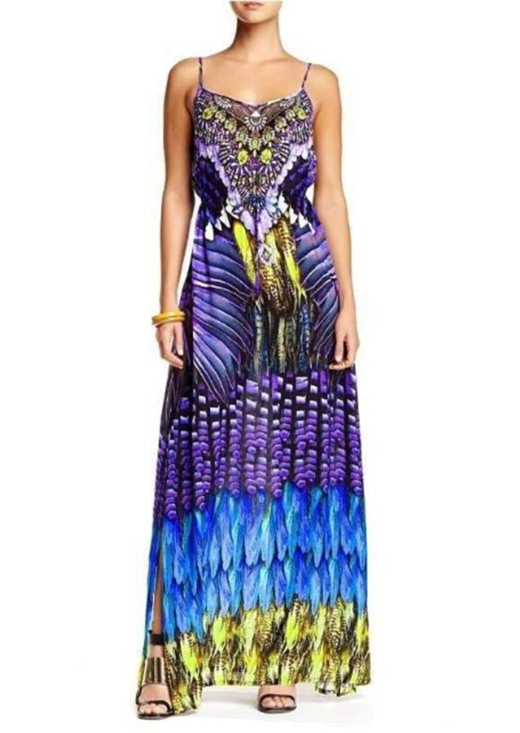 Shahida Parides Feather Cami Long Dress