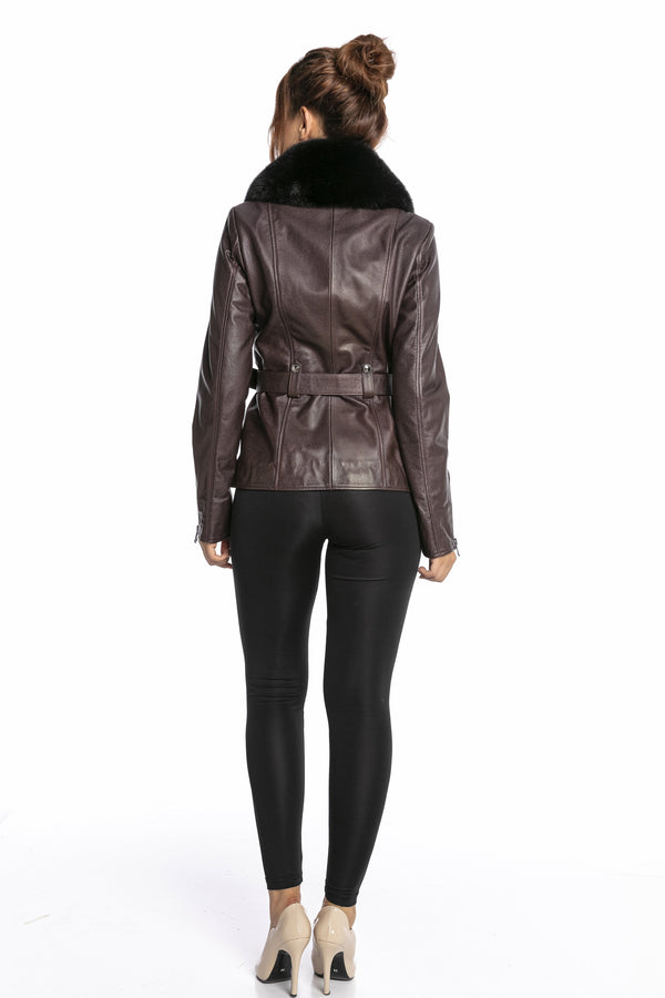 Luigi Long Sleeve Fur Collar Leather Belted Jacket