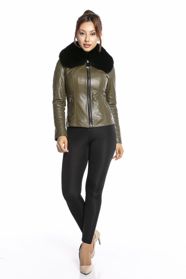 Luigi Long Sleeve Fur Collar Leather Jacket