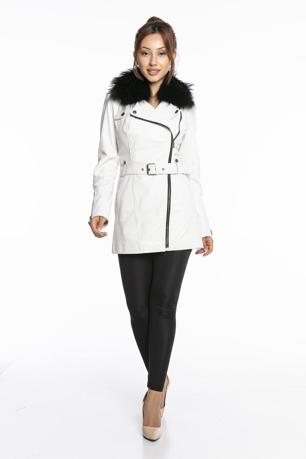 Luigi Long Sleeve Fur Collar Belted Leather Jacket