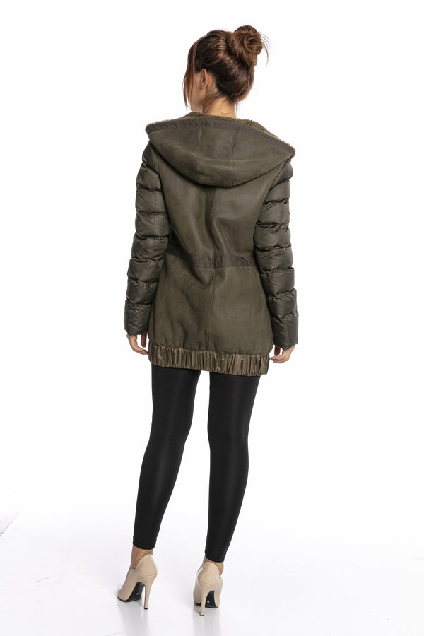 Luigi Long Sleeve Fur Puffer Jacket