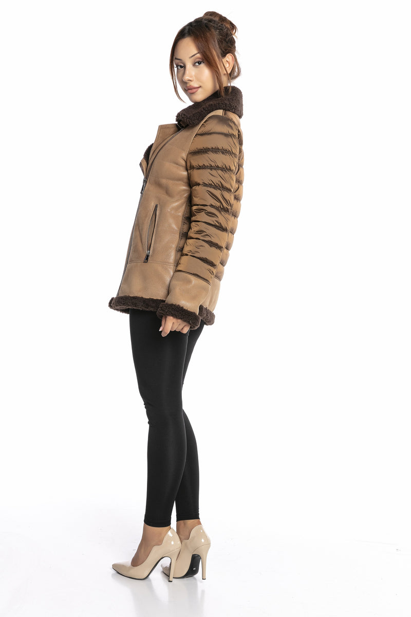 Luigi Long Sleeve Fur Leather Jacket