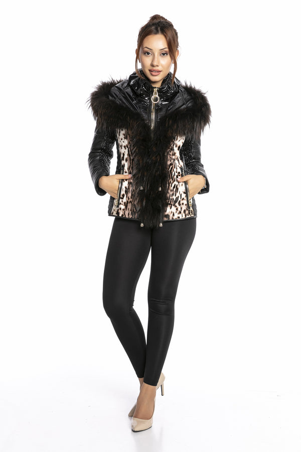 Luigi Long Sleeve Fur Leopard Leather Jacket