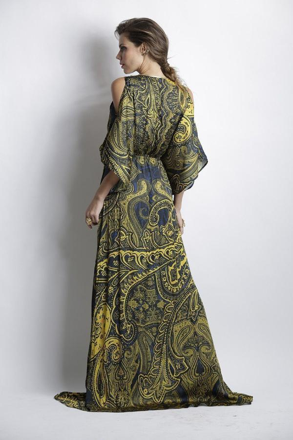 All Dresses - Baccio Betsy Silk Navy Yellow Long Dress