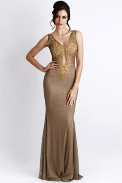 All Dresses - Baccio Couture Roxy Metallic Paint Long