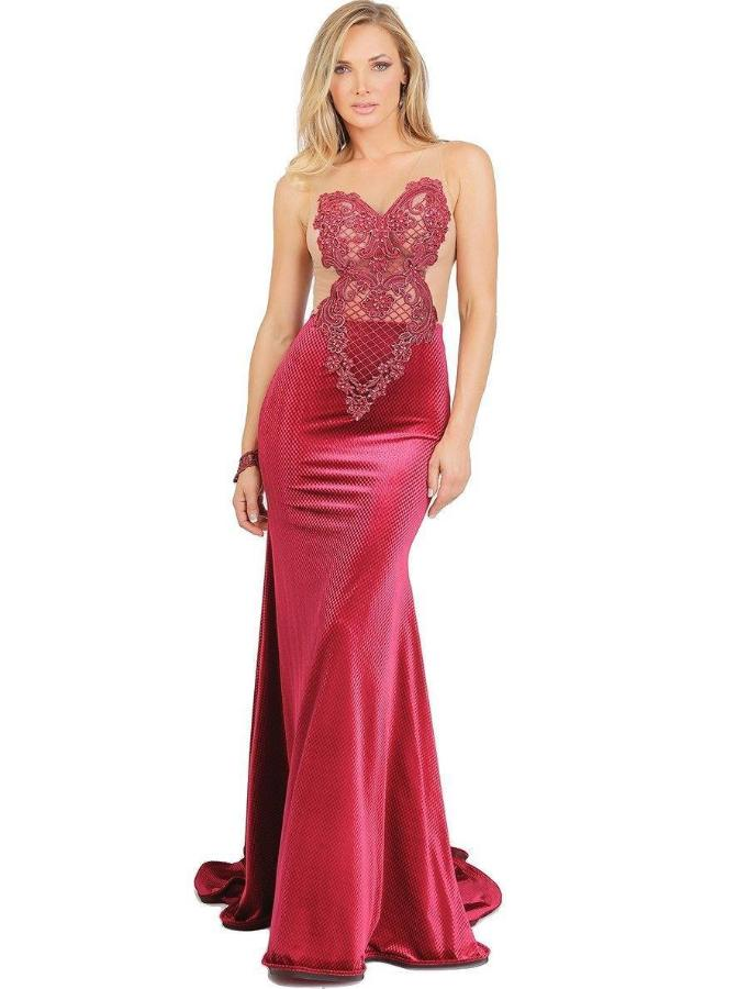 All Dresses - Baccio Lucy Painted Caviar Velvet Long Dress