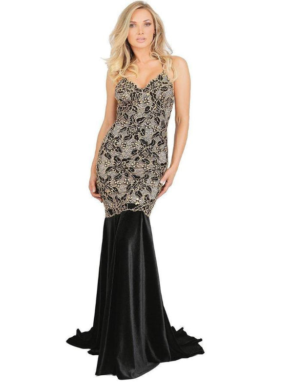All Dresses - Baccio Maluz Painted Caviar Velvet Long Dress