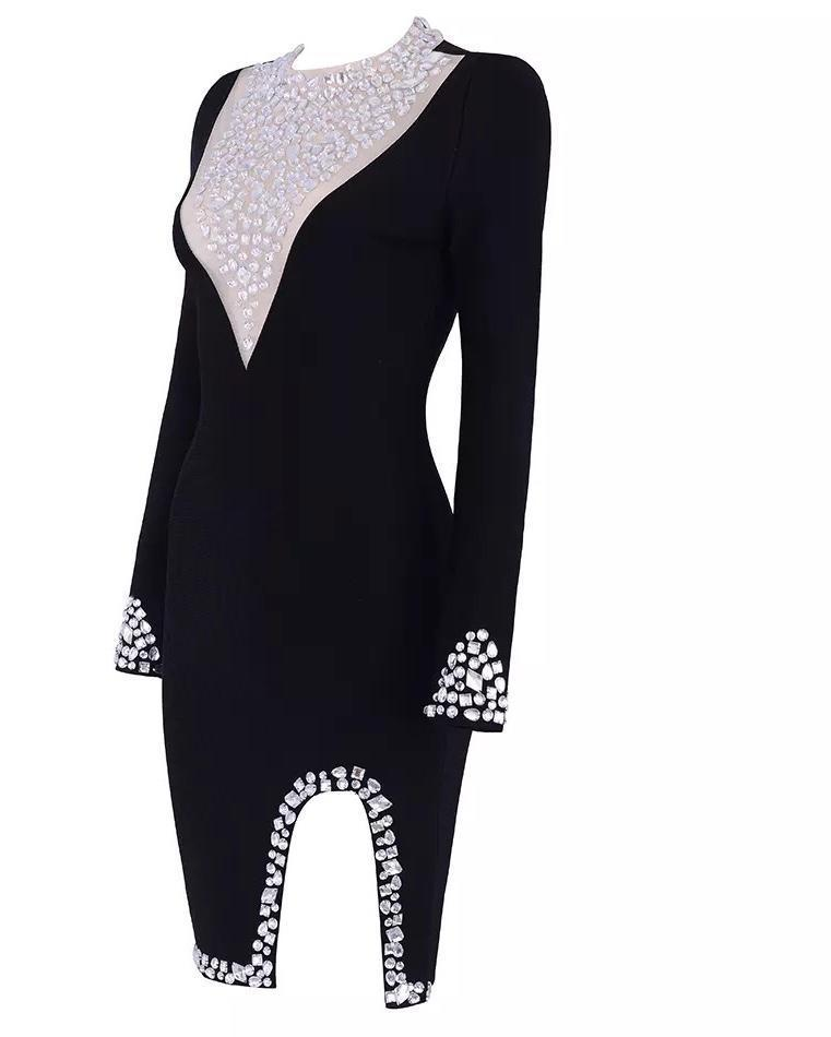 All Dresses - Jessica Bara Justine Crystal Embellished Long Sleeve Dress