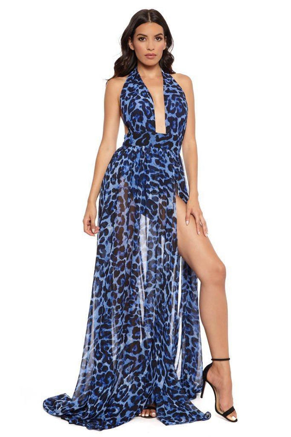 All Dresses - Jessica Bara Mila Halter Neck High Slit Maxi Dress