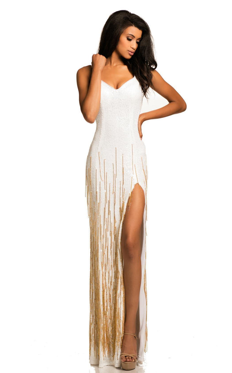 All Dresses - Johnathan Kayne Fringe Embellished Fitted Gown