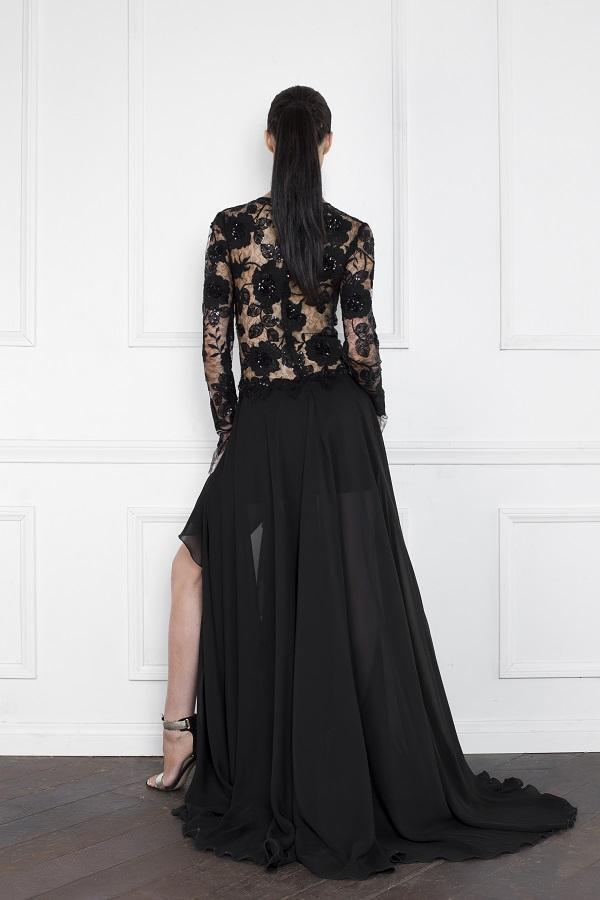 All Dresses - Nicole Bakti  Asymmetrical Slit Floral Embellished Lace Long Sleeve Dress