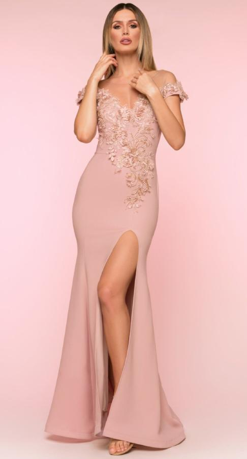 All Dresses - Nicole Bakti Embellished High Slit Dress