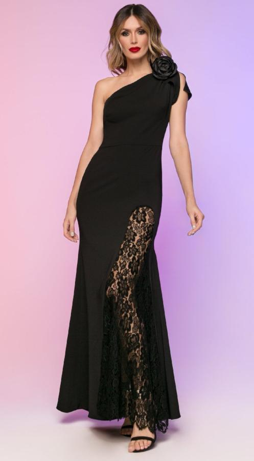 All Dresses - Nicole Bakti Long One Shoulder Lace Slit Dress