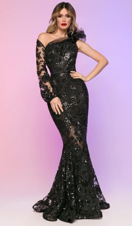 All Dresses - Nicole Bakti Long One Shoulder Sleeve Lace Dress