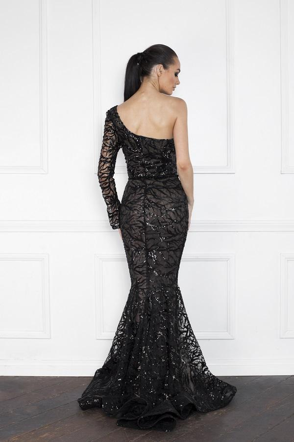 All Dresses - Nicole Bakti Long One Shoulder Sleeve Lace Gown