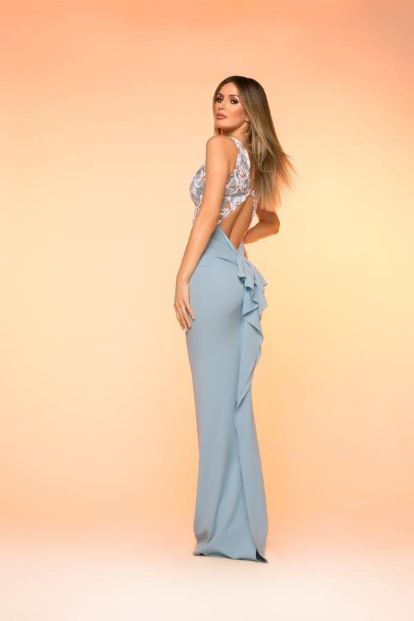 All Dresses - Nicole Bakti Long Plunge Cutout Back Dress