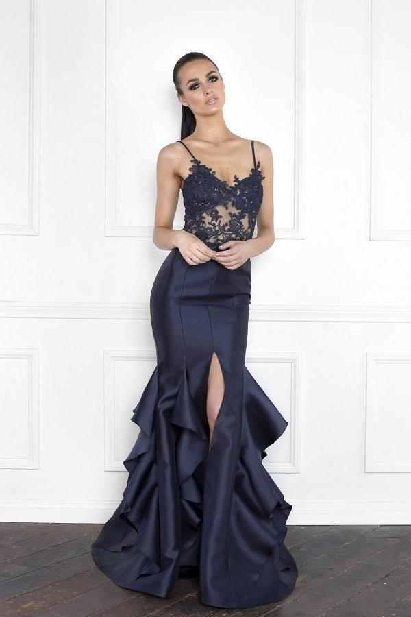 All Dresses - Nicole Bakti Long Ruffle Back Gown