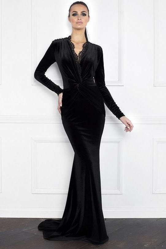 All Dresses - Nicole Bakti Long Sleeve Lace Velvet Gown