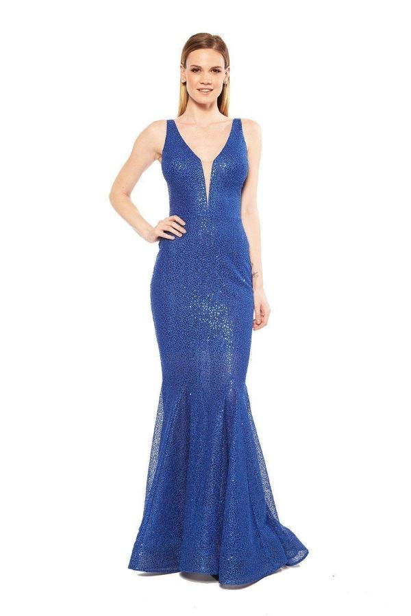All Dresses - Nicole Bakti Mermaid Deep V Lace Gown