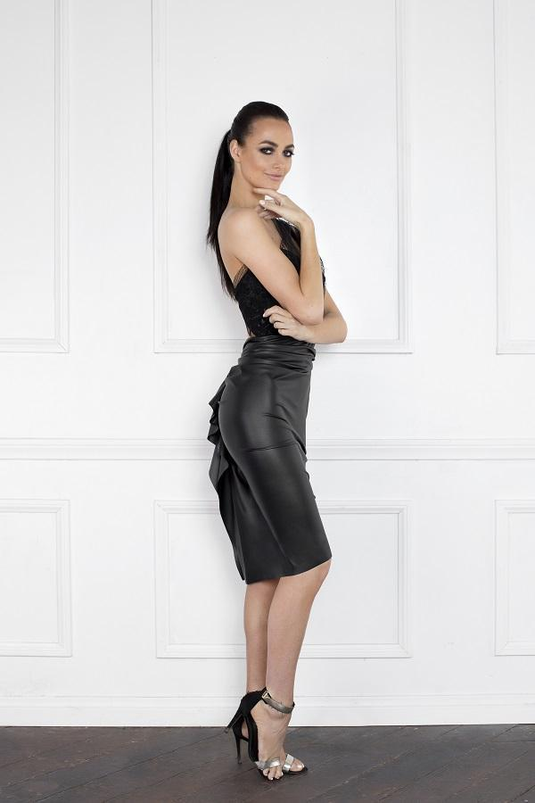 All Dresses - Nicole Bakti Mesh One Shoulder Faux Leather Cocktail Dress
