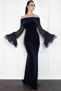 All Dresses - Nicole Bakti Off Shoulder Bell Sleeve Velvet Gown