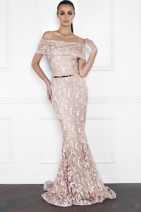 All Dresses - Nicole Bakti Off Shoulder Embellished Lace Belted Gown
