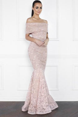 All Dresses - Nicole Bakti Off Shoulder Embellished Lace Gown