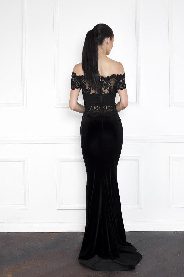 All Dresses - Nicole Bakti Off Shoulder Sheer Mesh Lace Velvet Gown