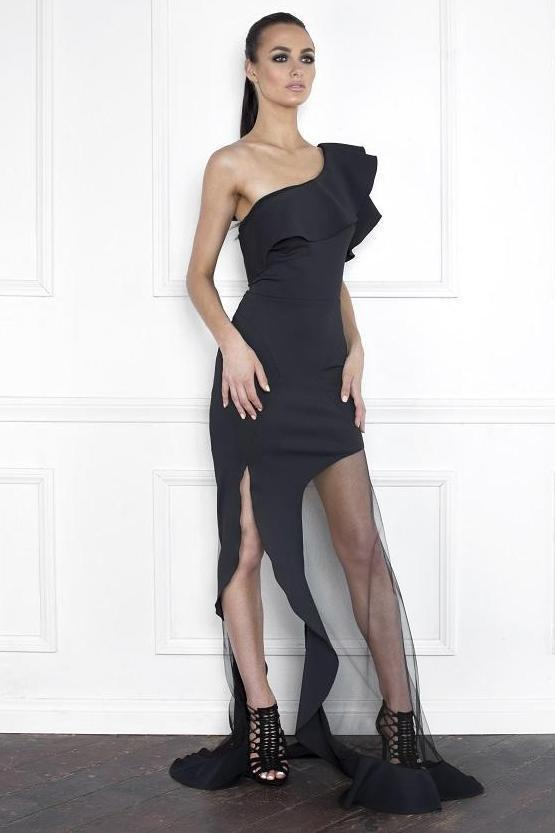 All Dresses - Nicole Bakti Ruffled One Shoulder Mesh Gown