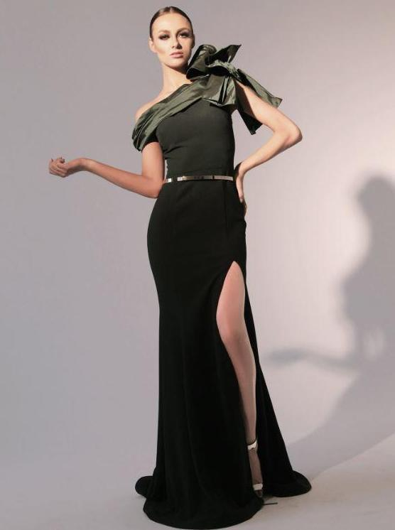 All Dresses - Nicole Bakti Slit One Shoulder Mermaid Gown