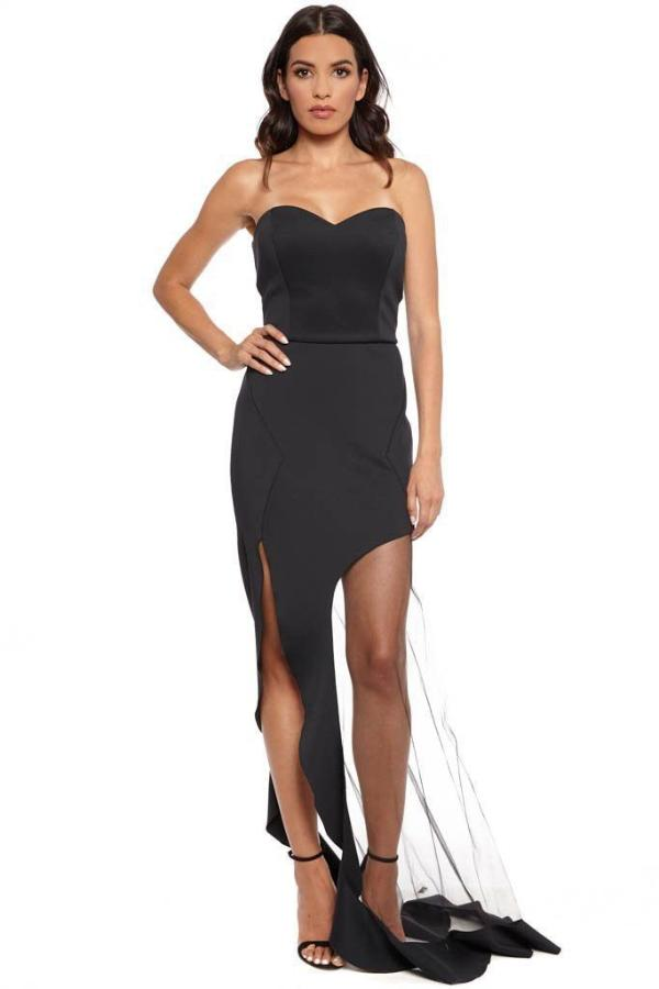 All Dresses - Nicole Bakti Strapless Mesh Gown