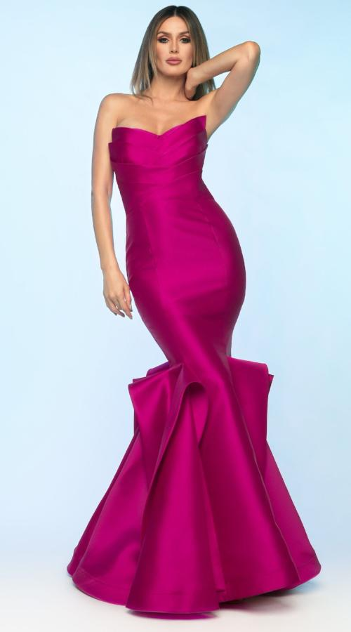 All Dresses - Nicole Bakti Strapless Ruffle Accent Gown