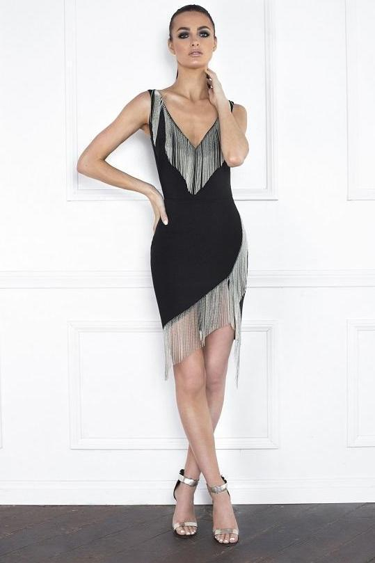 All Dresses - Nicole Bakti V Neck Assymetrical Fringe Short Dress