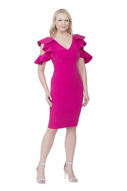 All Dresses - Posh Couture Cold Shoulder Ruffle Sleeve Dress