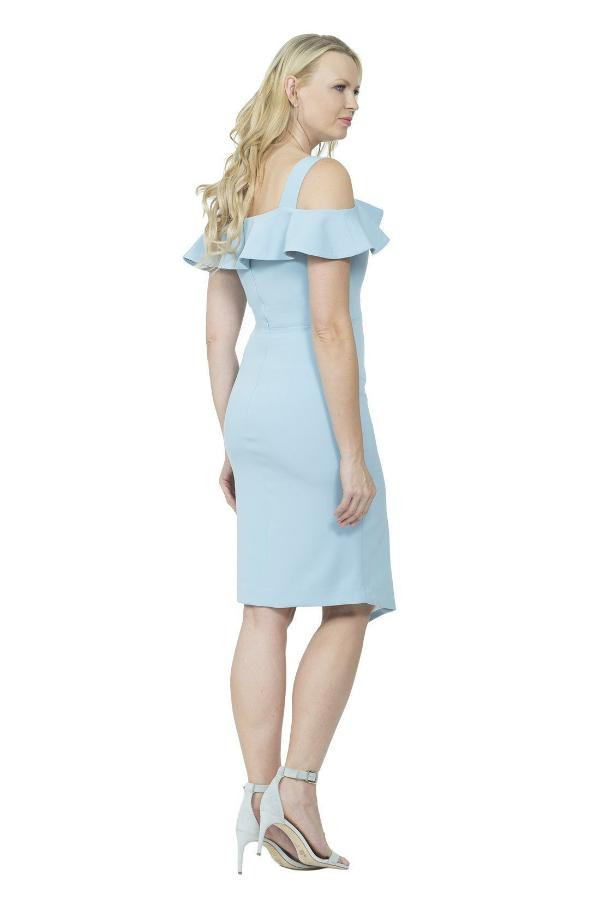 All Dresses - Posh Couture Cold Shoulder Ruffled Side Slit Dress