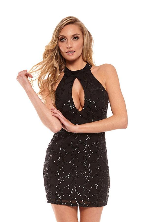 All Dresses - Posh Couture Sequin Mini Dress