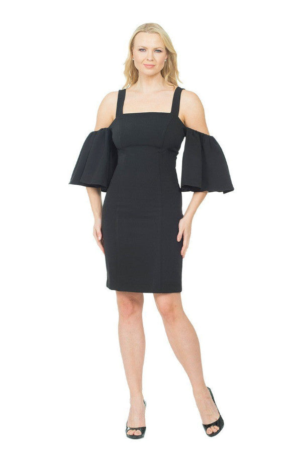 All Dresses - Posh Couture Square Neck Bell Sleeve Dress