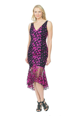 All Dresses - Posh Couture V Neck Embroidered Lace Dress