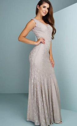 All Dresses - Posh Couture V Neck Lace Gown