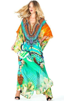 All Dresses - Shahida Parides Aqua Avatar Lace Kaftan Long Dress