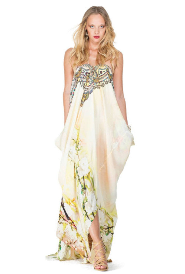 All Dresses - Shahida Parides Cherry Blossom Print Lace Up Long Kaftan